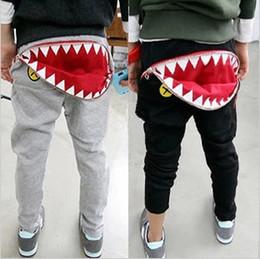 Wholesale 2014 Boys Girls Casual Pants Autumn Zipper Shark Pattern Long Trousers Pure Cotton Grey Black A001