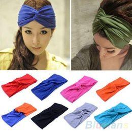 Women's Sports Elastic Turban Twisted Hair Band Head Wrap Sweatband Headband 4PYR