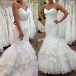 Real Mermaid Wedding Dresses 2016 Sweetheart Lace Appliques Beaded Waistline Fashion Chapel Trumpet Bridal Dress Custom Made