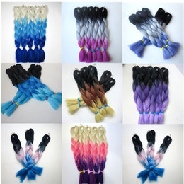 Kanekalon Synthetic Jumbo Braiding Hair Folded length 20 24inch 100g Black&Gray&Fuschia Ombre three tone colors Hair Extensions 8colors