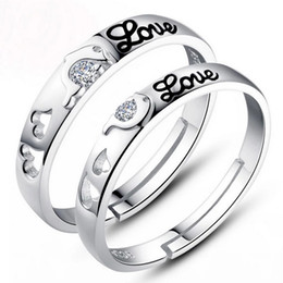 925 sterling silver items wedding rings jewelry crystal couple heart letters pair rings new lover gift