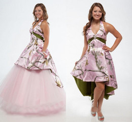 2015 Wedding Dresses Camo V Neck Empire Waist Backless Tulle Ball Gown Bridal Dress Pink with White Snow Realtree Gowns