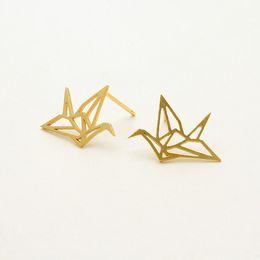 10Pair- S011 Gold Silver Origami Crane Stud Earrings Baby Paper Crane Bird Earrings Stud Little Swallow Earrings Animal jewelry