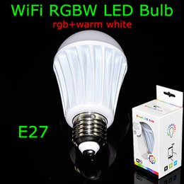 Wholesale 10Pcs NEW AC85 V Milk White Shell E27 RGBW SMD5050 RGB SMD2835 Warm White WIFI Led Bulb For Android and IOS System Phone