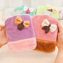 F05-3-08 bow cartoon mini portable plush hot water bottle filled with water hot water bottle to warm handbags wholesale