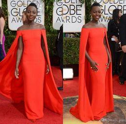 Wholesale 2016 Cheap Red Capet Golden Globe Award Lupita Celebrity Prom Dresses Off Shoulder Orange Fancy Cape Cloak Bateau Sheath Evening Gowns