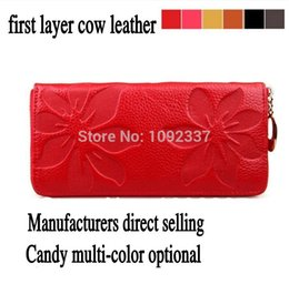Genuine Leather 2015 New Fashion Women's Wallet Quality brand designer flower coin purse small chain zipper bag Drop Price DC10