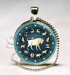 Wholesale Zodiac Aries Pendant Astrological Sign The Ram Jewelry Aries Astrological Symbol statement pendant art glass gemstone necklace 194
