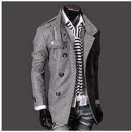 Wholesale Fashion Stylish Men s Trench Coat Winter Jacket mens mid long slim Double Breasted Coat Overcoat woolen Outerwear M XXXL NEW ARRIVE hight