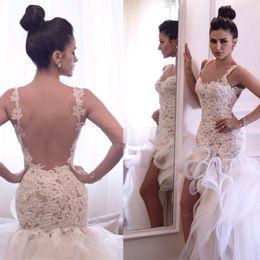 Sexy Backless Beach 2017 Wedding Dresses Mermaid Lace Bridal Gowns With Applique Hi Lo Spaghetti Straps Organza Vestidos De Wedding Gowns
