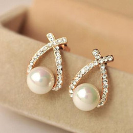 Stud Earring Wholesale Fashion Gold Crystal Stud Earrings Brincos Perle Pendientes Bou Pearl Earrings For Woman