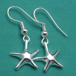 Brand new sterling silver plated Starfish earrings DFMSE090,women's 925 silver Dangle Chandelier earrings 10 pairs a lot