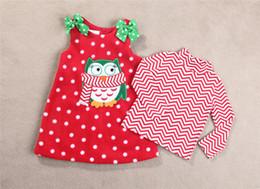 Winter Baby Girls Owl Christmas Dress Set 2pcs set(owl dot vest dress+chevron tshirt) christmas set designs kids clothes babies clothes