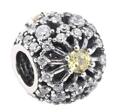 Sterling Silver Charms 925 Ale CZ Snowflake European Charms for Pandora Bracelets DIY Beads Group
