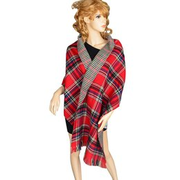 new 2016 women Oversized Scarf Wrap Shawl red Plaid Cozy Checked Pashmina