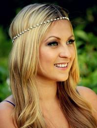 Wholesale 2015 Cheap women s fashion Bohemian pearl Metal band hair hair accessories forehead chain Headband