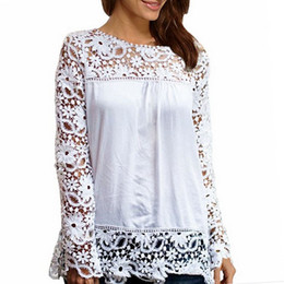 S-4XL Women Blouses Chiffon Lace 4XL Plus size Loose Ladies Tops Lace Crochet Long Sleeved Casual Sexy Blouse Black Shirts 2016