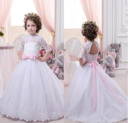 Wholesale Short Sleeved Ball Wedding Gowns - 2016 Lovely High Neck Half Sleeved Lace Ball Gown Flower Girls Dresses Tulle Floor Length Girls Pageant Gowns for Party BA1490