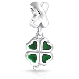 4 leaves clover Flower Dangle Spacer charm metal slide bead Europea fit Pandora Chamilia Biagi charm bracelet