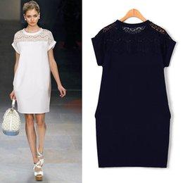 Wholesale-2015 White Black Navy Blue Women Dress with Short Sleeve Loose Mini Dress New Arrivals Summer Style plus size women clothing