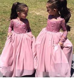 Cupcake Flower Girls Dresses For Weddings Peach Pink Girl Pageant Dress For Kids Long Sleeves Communion Dresses Kids Formal Wear