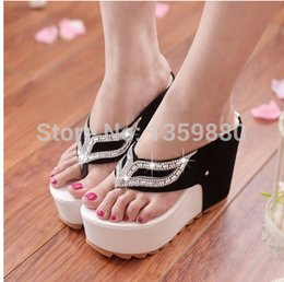 Wholesale Sex women sandals Beach Flip Flops Slippers Female Platform Plywood Sandals Women s Wedges Shoes Women Flip Flops