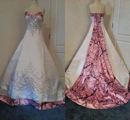 Embroidery Beaded Pink Camo Wedding Dresses Lace up Back Crystal Bridal Dresses White Satin Realtree Wedding Gowns with Court Train