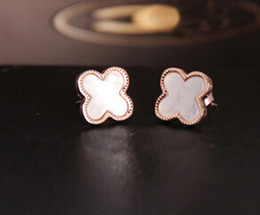 Titanium steel rose gold plated earrings Clover