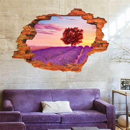 Wholesale lavender garden tree through the wall stickers living room decor E home decals pvc pastoral mural art scenery poster home decoratio