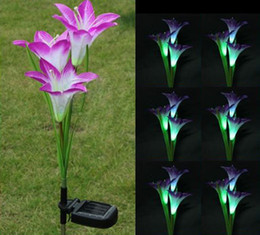 Wholesale New Fashion Lily Solar Powered LED Purple Color Flower Garden Path Light Lawn Lamp Bulb dandys