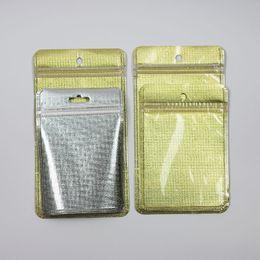 Polyuréthane plastique en Ligne-Golden Pearl Plastic Sac en polyuréthane OPP Emballage Zipper Lock Accessoires pour paquetage Boîtes à billes PVC Hand Hole pour câbles USB Étui pour téléphone cellulaire pour iPhone