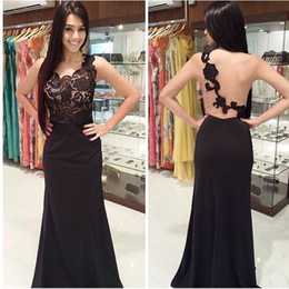 Black One Shoulder Lace Prom Dresses Sheath Sleeveless Sheer Appliques Formal Party Evening Gowns Custom made