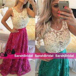 Wholesale Color Block Arabic Evening Dresses For Ladies Womens Formal Occasion Wear with White Pearls Lace and Appliques Long Skirt Party Gowns