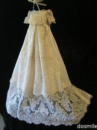 Wholesale Lace Christening Gown For Boys - Elegant Lace Silk Toddlers Christening Gown Formal Baptism Dress For Infant Girls Boys With Bonnet