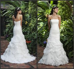 Wholesale New Custom Plus Size Sexy Sweetheart Strapless Beautifully Organza Mermaid Wedding Dress Bridal Gown Wedding Dresses vintage new design
