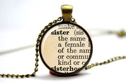 Wholesale 10PCS Sister necklace vintage dictionary definition of sister word pendant word sister jewelry