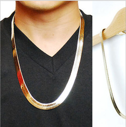 Wholesale High quality K Gold plated W10MM CM long Hiphop Franco Fish Bone Snake Chain Fashion Men statement Necklace Bijouterie new