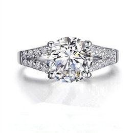 2Ct SONA Synthetic Diamond Ring for women Wedding bands Engagement Ring Silver white gold plated lovely promise Prong setting