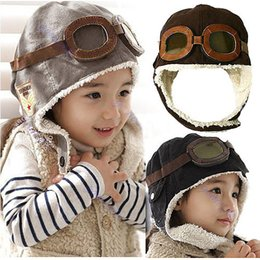 "Wholesale Cute Kids Beanies - Y92"" Free Shipping New Cute Baby Toddler Boy Girl Kids Pilot Aviator Cap Warm Hats Earflap Beanie"