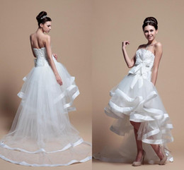 Short Front And Long Back Wedding Dresses Sweetheart Sleeveless lace Up Back Design Organza Tulle High Low Bridal Gowns