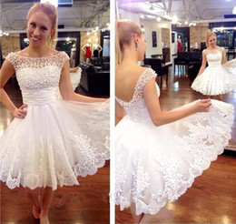 Fashion Pearls Short Party Dresses 2015 Scoop Sheer Lace Appliqued A line Pleats Backless Short Wedding Gowns Custom made