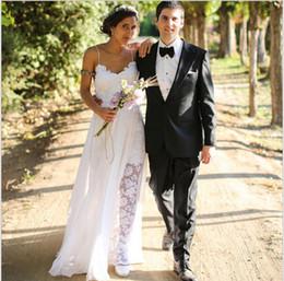 Real Images Gowns Sexy Spaghetti Backless Beach Bohemian Wedding Dresses Lace Chiffon Bohemian Wedding Dress Line Casual Vestido De Noiva