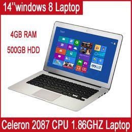 Wholesale 14 quot Ultra Slim all silver laptop GB Ram GB HDD Intel Celeron GHZ CPU Intel Dual Core Multi language Windows windows system