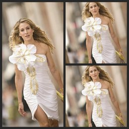 Wholesale Affordable Embellishment Flower White Celebrity Carpet Dresses Sarah Jessica Parker Red Carpet Dress Sheath Sweetheart Short Party Gowns