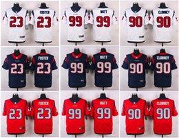 Wholesale Houston Elite Arian Foster Jadeveon Clowney J J Watt Texans blue white red Jerseys Cheap discount football jerseys Custom Limited