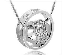 Wholesale 2014 fashion heart crystal necklace with drill love Pendant Necklaces Necklaces Pendants Jewelry statement necklaces locket necklaces
