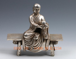 Wholesale Chinese Ancient Handwork Carved Silver Copper Statue Buddha Sitting Bench