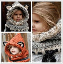 Wholesale Winter Kids Warm Fox Animal Hats Knitted Coif Hood Scarf Beanies for Autumn Winter colors different styles