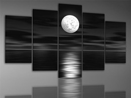 Hand-painted art The dark night sea bright moon ready to hang Wall Decor Landscape Oil Painting on canvas 5pcs set