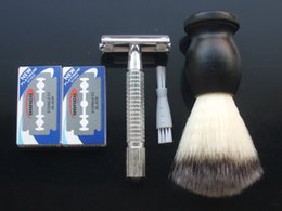 Wholesale WEISHI Double Edge Safety Razor Aluminum alloy M blade Clean brush Shaving brush Simple packing SET NEW